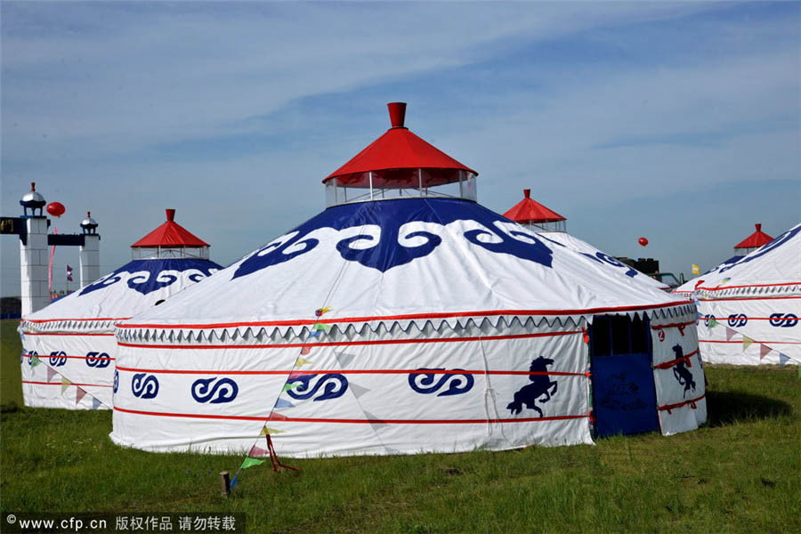 "The Mongolian Yurt, called ""a vaulted tent"" or ""felt tent"" in ancient times, is a domed pealed tent. The frame of the yurt is a supporting ring, formed by some wooden poles. The yurt's frame is covered with thick felt fastened from outside with ropes. Every yurt has an opening on the top, which provides both light and ventilation, and a wooden door facing south or southeast. The convenient design suits the mobility of the Mongolian people who live on grazing. As more and more Mongolians settle down, yurts are decreasing in number."