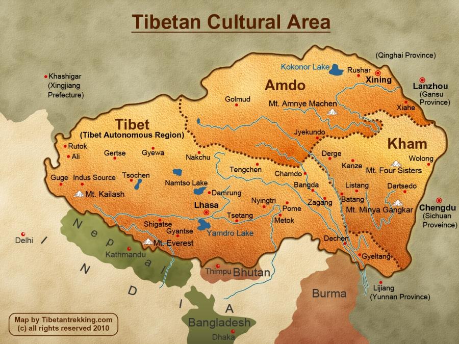 W rzeczywistości Tybet zajmuje o wiele większy teren, niż okrojony przez Pekin Tybetański Region Autonomiczny