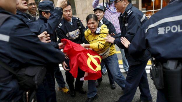 Wczorajszy protest w Hong Kongu przeciwko porwaniom.
