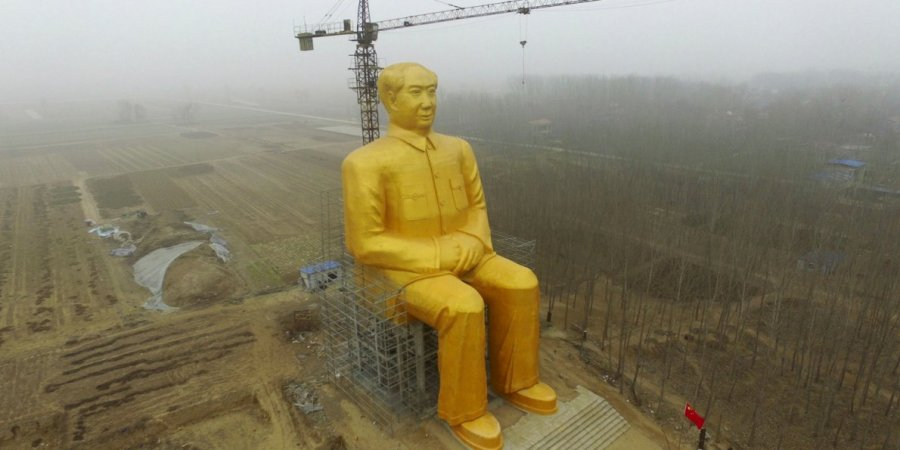 chinas-giant-gold-painted-statue-of-mao-zedong-has-suddenly-been-demolished
