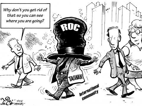 """Karykatura z """"Taipei Times""""."""