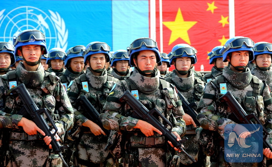 (150529)-- KHARTOUM, May 29, 2015(xinhua)-- Members of China's peacekeeping infantry battalion stand in formation for inspection by representatives of the Untied Nations at their camp in South Sudan on May 26, 2015. This year marks the 25th anniversary of China's first participation in United nations peacekeeping missions. The two and half decades have witnessed China's diligence in fulfilling its international responsibilities. (Xinhua/Li Ziheng)(azp)
